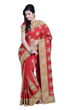 Beautiful Elegant Red Pure Silk Saree With Blouse By Ambition Saree Sarees on Shimply.com