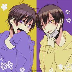 Osomatsu-san Ichimatsu and Jyushimatsu swap hoodies Handsome Anime Guys, Cute Anime Guys, Anime Love, Anime Chibi, Anime Art, Anime Siblings, Anime Couples Manga, Anime Style, Sans Cute