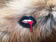 Black Glitter Lips Enamel Pin by BROOKPYN on Etsy