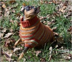 Autumn Stripes Crochet Min Pin Sweater. Plus other free patterns for dog sweaters.