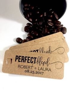 Perfect Blend Coffee Tags, Tea Wedding Favors, Thank You Tags, Thank You Favors, Coffee Favors, Coffee Wedding Tags, Set of 18