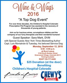 We hope to see some of you on September 12th in support of Children's Hospital Colorado Prescription Pet Program! It's a terrific cause to help children!