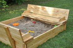 Sandbox with lid that turns into a bench... I will make one of these some day