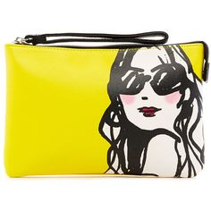 IZAK Yellow Sunglasses Girl Wristlet ($23) ❤ liked on Polyvore featuring bags, handbags, clutches, yellow purse, zipper pouch, purse, wristlet clutches and accessories handbags