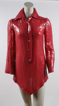 Bill Blass Red Sequin Tunic   1980s Blouse style with collar and front buttons. All over sequined over red chiffon.