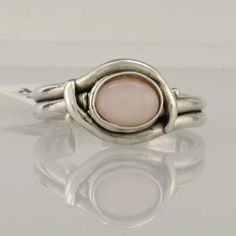 Sterling Silver 8x6 mm Pink Mother of Pearl Ring - Handmade One of a Kind Artisan Jewelry Made in The USA with Free Domestic Shipping! Denim and Diamonds Jewelry