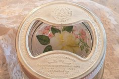 vintage upcycled wide mouth canning jar lid shabby by sparkklejar, $6.00