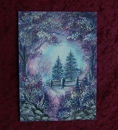 art painting winter purple landscape (ref 790) £6.00