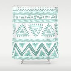Aztec Mint Green Abstract Shower Curtain// Made to Order /Bath