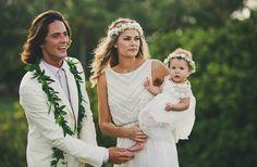 Tori Praver in custom Mara Hoffman with husband Danny Fuller