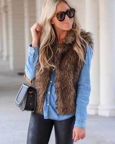 denim button shirt, leather leggings, faux fur vest