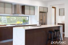 Overhead doors in Frosted glass insert. Overhead door frames in Satin Aluminium. Kitchen Images, Kitchen Photos, Family Kitchen, Kitchen Reno, Kitchen Timers, Cupboard Doors, Kitchen Recipes, Mid Century Design, Kitchen Utensils