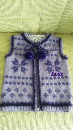 ❄️Desenli yelek❄️ Baby Knitting Patterns, Baby Patterns, Free Pattern, Vest, Denim, Fashion, Pattern, Jackets, Moda