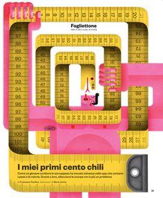 """IL Magazine #60 - Cover for """"fogliettone"""" section """"My first 100 kilograms"""" - April 2014"""
