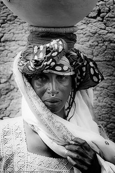 portrait of a woman of ethnic pehul in Djenne, sahel, mali