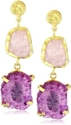 "Zariin ""Duo Stone Spirited"" Pink Druzies Gold Earrings"