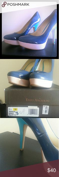 "Enzo Angiolini Heels 4"" Platform Heels only worn once, excellent condition. Colors are blue,  blush,  and teal. Enzo Angiolini Shoes Heels"