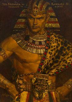 Yul Brynner as Ramses II Pharoah of Egypt, Arnold Friberg More male art… Egyptian Costume, Egyptian Art, Egyptian Jewelry, Ancient Egypt Art, Ancient History, Ancient Aliens, Egypt Concept Art, Prince Of Egypt, Character Art