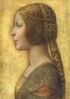 """Leonardo Da Vinci  """"La Bella Principessa"""" Very likely Bianca Sforza, on the occasion of her wedding, chalk on vellum, an unusual, not to say unique mix of media.  Likely removed from a book."""