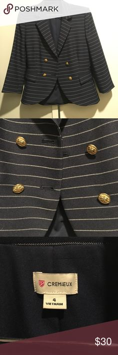 Navy striped blazer with nautical gold buttons Navy and white striped blazer with nautical gold buttons. Worn once. Light shoulder padding makes this super flattering. Great for the office or going out. Daniel Cremieux Jackets & Coats Blazers