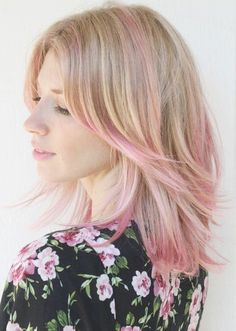 Side Bangs with Pink Highlights- Long bob with bangs
