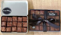 our brownie gift box and gift tin can be posted nationwide. did I mention they're award winning? Cake Boxes Packaging, Brownie Packaging, Baking Packaging, Dessert Packaging, Chocolate Packaging, Baking Business, Cake Business, Box Brownies, Chocolate Brownies