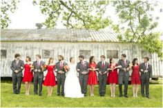 Dallas wedding photographer, bridal party, red bridesmaid dresses, gray groomsmen tuxedoes, wedding picture ideas, Old Town Plaza Wedding | Norman, OK » Mary Fields Photography