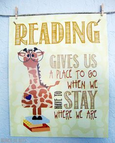 Reading gives us a place to go when we have to stay where we are.  Giraffe from the safari by bunchofbees, $15.00
