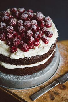 Chocolate cake with cream and raspberries #desserts #chocolate #raspberryrecipe