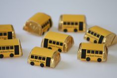 So clever! Mini bus candy bar wrappers for adorable back to school treats