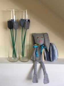 Homemade Easter Decorations: Fabric tulips, Sew4Home Funny Bunny and fabric egg. Tutorial how to make the fabric egg can be found on my blog