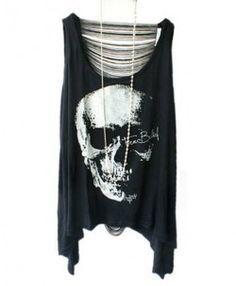 Punk Style Skeleton Print T-shirts with Fringe Back