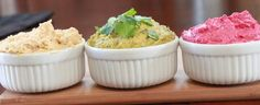 Original Hummus, Cilantro Hummus, Beet Hummus