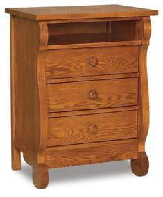 Amish Old Classic Sleigh Three Drawer Nightstand with Opening Sleigh style beauty offering storage bedside. Choose wood and stain for this flowing sleigh style. #nightstands #sleigh