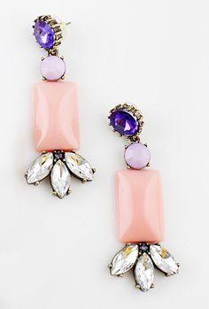 Pink Gemstone Geometric Crystal Earrings US$7.34