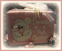 VIntage Pink Santa Suitcase....love this for Eliza's room  So cute...#XmasPinkRoom