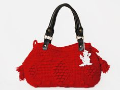 BAG // Red Handbag Celebrity Style With Genuine by Sudrishta, $99.00