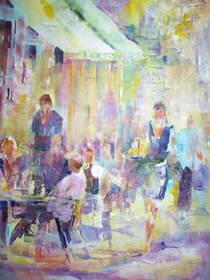 Cafe Culture - Waitress serving at Cafe or Restaurant - Painting by Horsell Woking Surrey Artist Sera Knight