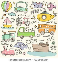 Set of Cute Transportation Doodle Cute Doodles Drawings, Kawaii Doodles, Art Drawings For Kids, Drawing For Kids, Easy Drawings, Banner Doodle, Graffiti Doodles, Wreath Drawing, Doodle Lettering