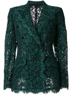 -- Dolce & Gabbana double breasted lace blazer -- only alwaysShop online for the latest clothing in Dolce and Gabbana women. Browse hundreds of designer boutiques for Dolce Gabbana for women. Blazer Outfits, Blazer Fashion, Dress Outfits, Mode Monochrome, Look Blazer, Casual Blazer, Green Blazer, Green Jacket, Nice Dresses