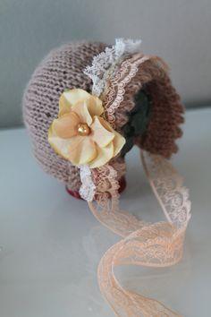 Knitted Silk Mohair Bonnet Hat- photo props newborn - Tan- newborn on Etsy, $19.92 AUD
