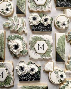 Greenery and anemones were the focus for this bridal shower set! Threw in a black based cookie to make it pop and I couldn't be more… Fancy Cookies, Iced Cookies, Cute Cookies, Cookies Et Biscuits, Cupcake Cookies, Sugar Cookies, Cookie Favors, Heart Cookies, Valentine Cookies