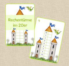 Heute gibt es mal Rechentürme für die Kleineren, eigentlich Rechenhäuser :) Dazu habe ich ein Arbeitsblatt erstellt, auf dem die Kinder i...