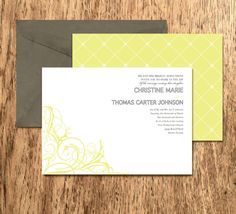 classy, chic, romantic, and modern wedding invitation.  Loving yellow and gray!!