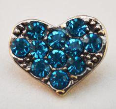 12mm Snap - Heart, Blue Crystal