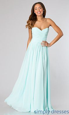 Shop Simply Dresses for long strapless dresses for homecoming, military ball, winter formal or bridesmaids. Floor length strapless sweetheart gowns. $119