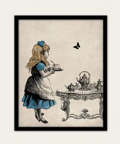 Alice In Wonderland Tea Party Wall Art Print. $18.00, via Etsy.