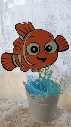 Nemo centerpiece. Cricut. If you need a special order msg me on pinterest. Birthday Diy, 1st Birthday Parties, Birthday Party Decorations, Dumbo Baby Shower, Boy Baby Shower Themes, Baby Blessing, Finding Nemo, Names Baby, Girl Names