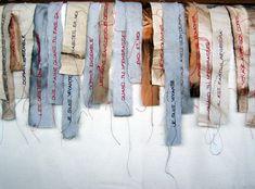 les mots doux/ Cecile Dachary (søde ord) Textile Texture, Textile Fiber Art, Textile Artists, Art Fibres Textiles, Art Fil, Textiles Techniques, Stitch Book, Fabric Journals, Thread Art