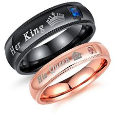 Romantic Stainless Steel Men's Women's Her King His Queen Couple Ring... (13 BRL) ❤ liked on Polyvore featuring men's fashion, men's jewelry, men's rings, mens rose gold ring, mens watches jewelry, mens stainless steel wedding rings, mens cz rings and mens rings